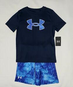 BOYS UNDER ARMOUR Shirt & Shorts 2 Piece Set Gray & Black SIZE 8 (YSM) NWT