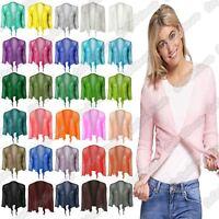 New Ladies 3/4 Sleeve Double Fine Knit Bali TieUp Bolero Shrug Crop Cardigan Top