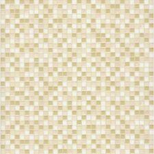 "Taupe, Pink, Gold, & Cream Mosaic Raised 1/2"" Tile Wallpaper Pa111504"