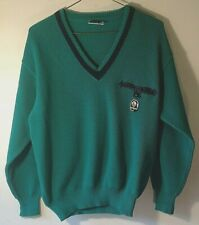 Navigare Nautical Wool Blend Long Sleeve V-Neck Green/Blue Sweater Size: M Med