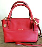 COACH Pebbled Leather Mini Turnlock Borough Crossbody Bag Red Currant 33562 NEW