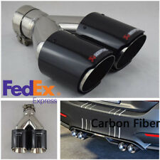 Universal Glossy Real Carbon Fiber Car Daul Double Exhaust Pipe Muffler Tail Tip