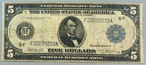 Series of 1914 $5 Federal Reserve Note * FRN * Horse Blanket