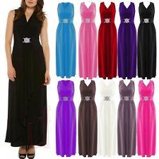 Womens Cocktail Buckle Maxi Dress Ladies Wrapover Evening Dresses Plus Size 8-26
