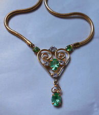 Vintage Leo Glass Heart Rhinestone Drop Dangle Necklace Gold Tone