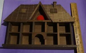 VINTAGE WOOD MINIATURES THIMBLE DISPLAY WALL HOUSE BOX