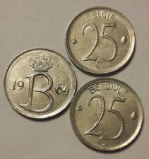 25 centimes Belgique 25 cents 1964 <<<===>>>1975 Choose Belgïe Belgium Baudouin