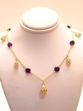 SEXY! NEW-14K Yellow Gold DANGLE RHODOLITE BEAD Necklace ITALY-11.12gm-LAYAWAY