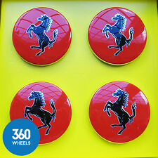4 X Neuf Origine Ferrari Rouge Centre Caps Hub badge Roue Alliage Center 70001465