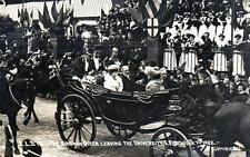 Leeds University Royal Visit Royalty 1908 sepia RP old postcard used 1908 ELS
