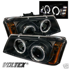 2003-2007 CHEVY SILVERADO 1500 HD HALO LED PROJECTOR HEADLIGHTS LIGHTBAR BLACK