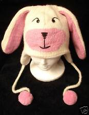 deLux BUNNY RABBIT HAT knit pink FLEECE LINED animal costume ADULT cap toque