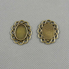 2x Jewelry Making Pendant Findings Charms A3156 Oval Setting Cabochon Frame