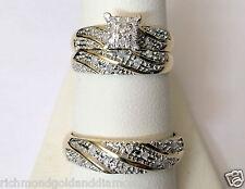 His Her Men Womens Diamond Rings Set Wedding Bridal Band 10k Yellow Gold Trio