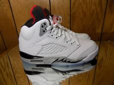 Air Jordan 5 Retro Cement Size 17 White University Red Black 136027-104