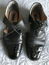 Topshop Black leather & patenet shoes - size 4