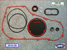 Primary Cover Gasket & Seal Kit, 89-99 Softail, Dyna w/Derby gasket ref 60539-89