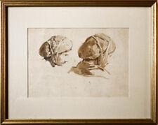 Autour de Jean Baptiste Isabey portraits de paysanne vers 1820 encadrée 14x20 cm