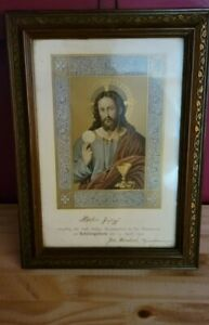 Antique Wood Framed Jesus Picture Religious Home Decor Icon Dated 1901
