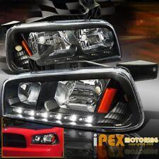 2006-2010 Dodge Charger SXT SE SRT8 R/T Black LED Headlights+Corner Signal Light