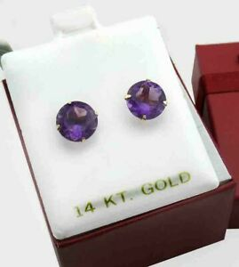 GENUINE 4.68 Cts AMETHYST STUD EARRINGS 14K GOLD ** FREE APPRAISAL ** NWT