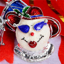 *UK* LADY SNOWMAN / SNOWOMAN CHRISTMAS BROOCH PIN HOLIDAY RED SILVER GLASSES BOW