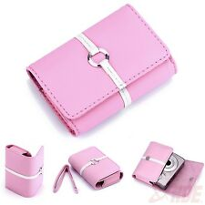 Pink Universal Digital Camera PU Leather Carrying Case Sony Canon Nikon Models
