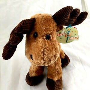 First & Main Lankydoodle Brown Moose Plush Stuffed Toy #5124 NWT 10""