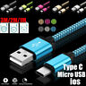 Strong Fabric Braided Micro USB/Type C /IOS Fast Charging Data Sync Cable Cord