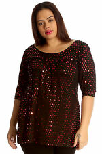 Womens Top Plus Size Ladies Polka Sequin Dot Foil Glitter Party Shirt Nouvelle Red 22-24