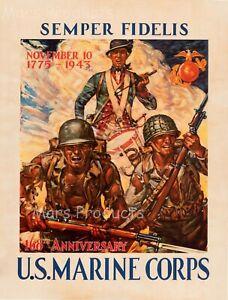 1943 Semper Fidelis U.S. Marine Corps Vintage Style WW2 Poster 18x24