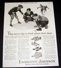 1926 OLD MAGAZINE PRINT AD, ENDICOTT-JOHNSON, BETTER SHOES, MARBLE PLAYERS ART!