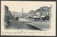 Postcard Lanark in South Lanarkshire Scotland view of High Street 1903 by Brown