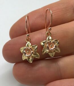 Daffodil drop earrings, rose & yellow gold on solid Sterling Silver. New.