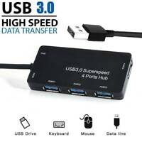High Speed 4-Port USB 3.0 Multi HUB Splitter Expansion Cable Adapter Laptop PC @