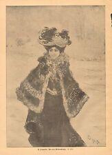 Pretty Lady, Fashion, Impressionism, Vintage 1904 German, Antique Art Print