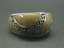 STERLING SILVER Marcasite NATURAL SHELL INLAY CREAM DOME RING Wave Design 7