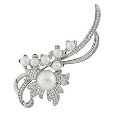 Sterling Silver brooch White freshwater pearls and micro pavé CZs BR-01