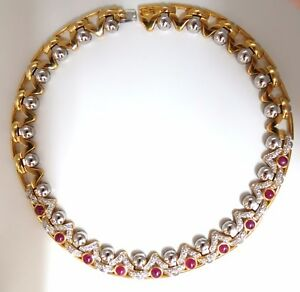 9.50ct Natural Ruby Diamonds Link Necklace 18Kt Crown Deco Prime