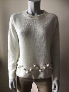 STUDIO Cream Pom Pom Knit Long Sleeve Jumper Size 12/14