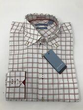 NEW MONDO DI MARCO Men's Size M Red White Checkered Button Down Dress Shirt
