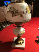 Vintage Glass Lamp Crimped Top Floral Leaf, Leaves Hand Painted Fall On Marble