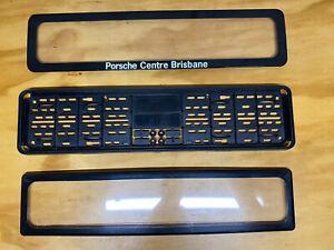 "EASIFIX Euro Number Plate Covers - ""Porsche Centre Brisbane"" V Good Cond"