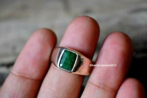 Natural Green Emerald Gemstone Ring For Mens 925 Solid Silver Yellow Gold Fill