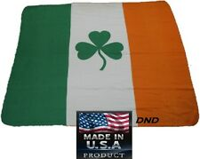 Usa Made Ireland Polar Fleece Blanket Irish Flag Shamrock Clover Stadium Throw