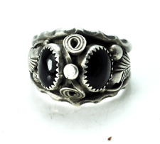Sterling Silver Max Calabaza Double Black Onyx Swirl Feather Ring 19mm Size 12