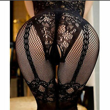 BLACK FLORAL SLEEVELESS SUSPENDER LOOK FISHNET OPEN CROTCH BODY STOCKING * S - L