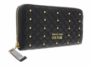 Versace Jeans Couture Black/Gold Studded All Around Zip Continental Wallet