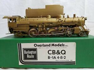 OVERLAND / ROK HO SCALE BRASS CB&Q B-1A 4-8-2 MOUNTAIN - UNPAINTED w/ BOX