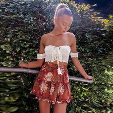 Boho Womens Summer Mini Dress Ladies V Neck Holiday Beach Party Floral Sundress
